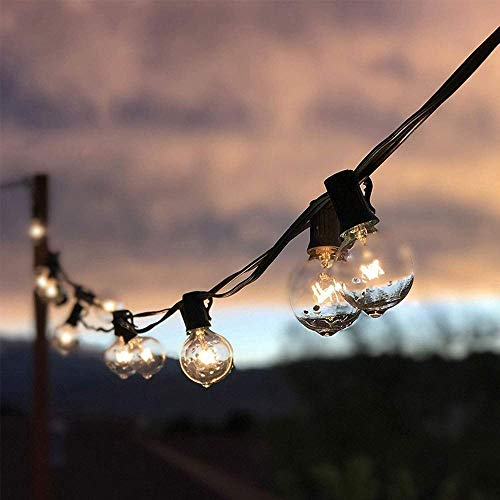 A-Generic Light chain G40 wreath lights 36 light bulbs and 4 spare light bulbs 41ft cable decorative indoor light and outdoor terrace garden party wedding Christmas-40 ampoules