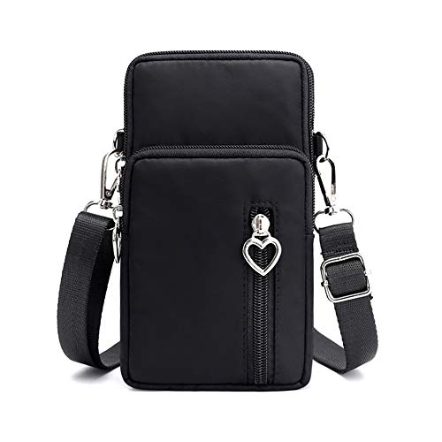 Women Crossbody Cell Phone Purse Wallet Wristband Armband Bag for Samsung Galaxy S21 Ultra Note 20 10 Plus A72 A12 A02S A32 5G A21S, Moto G Power G Stylus, LG Stylo 6 V60 ThinQ K51 OnePlus (Black-L)