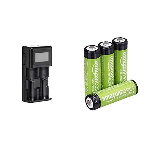 Amazon Basics Intelligentes, digitales Akku-Ladegerät für 2 Akkubatterien & Vorgeladene NI-MH AA-Akkus - Akkubatterien (1.000 Zyklen, typisch 2000mAh, minimal 1900mAh) 4 Stck