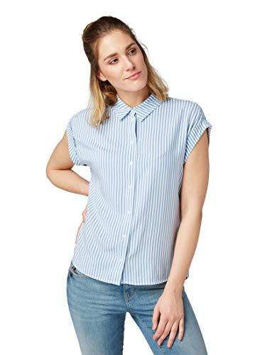 TOM TAILOR Damen Blusen, Shirts & Hemden Kurzärmlige Bluse mit Kent-Kragen Stripe Vertical Blue,36,22804,6000