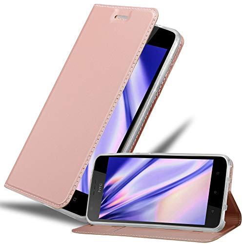 Cadorabo Hülle für HTC Desire 10 Lifestyle/Desire 825 - Hülle in ROSÉ Gold – Handyhülle mit Standfunktion & Kartenfach im Metallic Erscheinungsbild - Case Cover Schutzhülle Etui Tasche Book Klapp Style