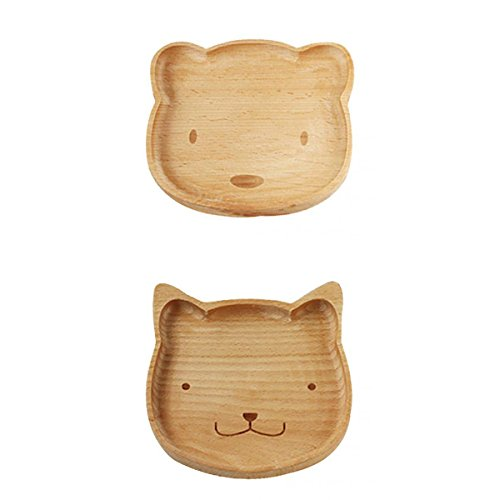 MonkeyJack Natural Wooden Kids Plate Baby Feeding Set Includes Bear Cat Shape Animal Wood Plates