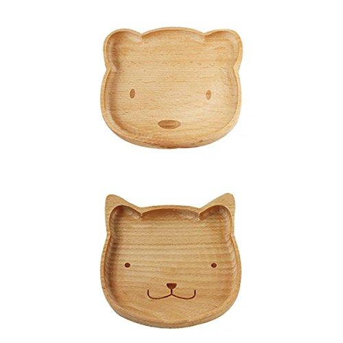 Gazechimp Set/2pcs Holzteller aus Holz - Bär Katze Form - Holz-Schale Obstschale Schüssel Salatschüssel Dekoteller Set - Deko Dekoration Aufbewahrung