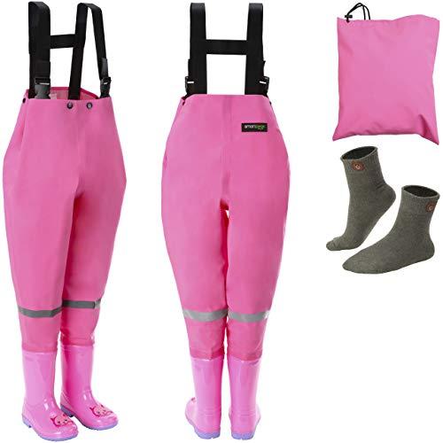 smartpeas wasserdichte Wathose für Kinder mit Gummi-Stiefel pink Größe 24/25 – ideale Anglerhose/Watthose für Kinder +Plus: 1x Socken