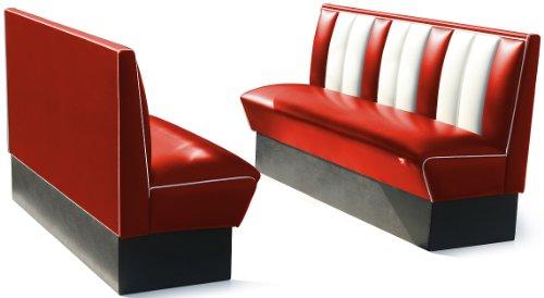 Bel Air Bank Dinerbank Eckbank Sitzbank Einrichtung Gastronomie Dinermöbel Lounge (Red/White)