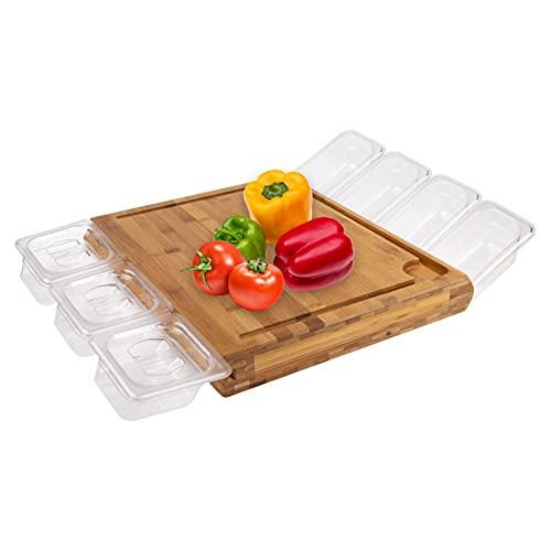 Meateor multifunktionales Schneidebrett, für einfaches Ordnen von geschnittenen Lebensmitteln in 7 stapelbaren Vorratsdosen, 3 mit Deckel schließbar, Schneidbrett aus nachhaltigem Bambus gefertigt