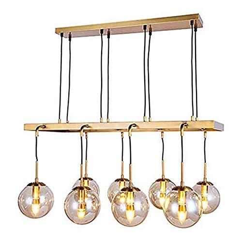 OWEM Gold Bronze Restaurant Kronleuchter 8 Flammen, Metall, Glas Kugel Schatten Umweltschutz Wohnzimmer Kronleuchter Postmoderne Deckenleuchte Innenbeleuchtung H 45 cm L 85 cm 40 W E14 230V