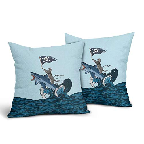 Blue Ocean and Throw Pillows Covers Washable Machine Watercolor Cute Cat Riding Shark with Skull Flag Home Decor Square Square Double Sided Printing Linen Pillow Cases 18x18 Inch,Set of 2