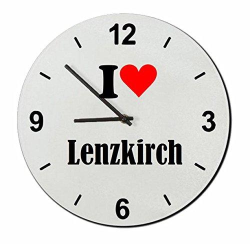Druckerlebnis24 Glasuhr I Love Lenzkirch eine tolle Geschenkidee die von Herzen kommt| Wanduhr| Geschenktipp: Weihnachten Jahrestag Geburtstag Lieblingsmensch