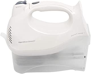 Hamilton Beach Power Deluxe 6-Speed Electric Hand Mixer with Snap-On Storage Case, QuickBurst, Beaters, Whisk, Bowl Rest, White (62695V)