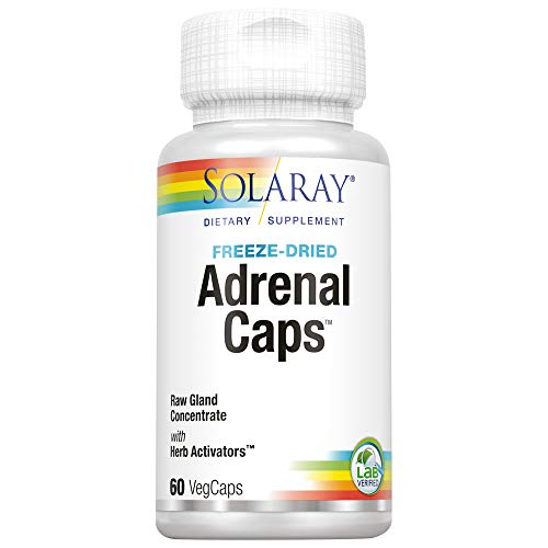 Solaray Freeze Dried Adrenal Caps   Supports Healthy Stress Management & Energy   30 Servings, 60 VegCaps