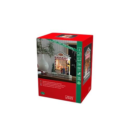 Konstsmide - Palla di neve a forma di Negozio di caramelle e Babbo Natale, per uso interno (IP20), 8 canzoni opzionali, funzionamento a batteria: 3 x C 1,5 V (escl.) / Lanterna di Natale 1 LED, bianco