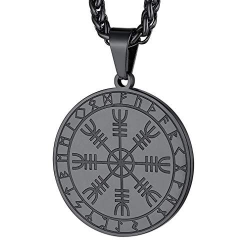 FaithHeart Collares Nórdicos de Símbolo Helm of Awe Aegishjalmur Acero Metálico Negro Oscuro Colgante Amuleto para Hombres y Mujeres