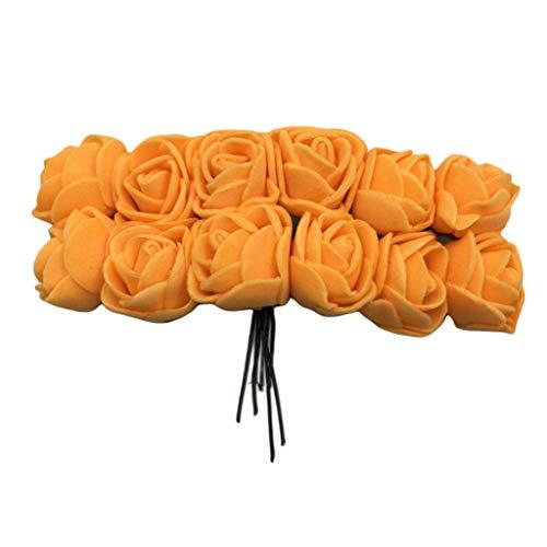 FLAMEER 144pcs Künstliche Rosen Blumen Schaumrosen Foamrosen Kunstblumen Hochzeitsdekoration - Orange