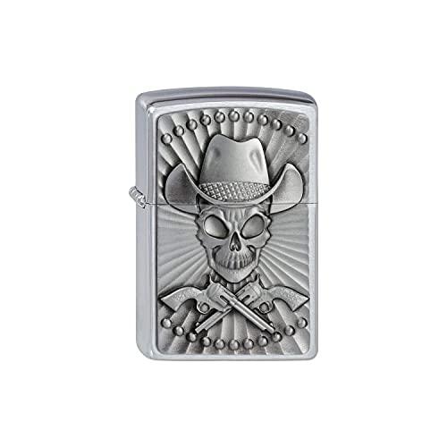 Zippo Zippo Feuerzeug 2001982 Cowboy Skull Emblem Benzinfeuerzeug, Messing Chrome