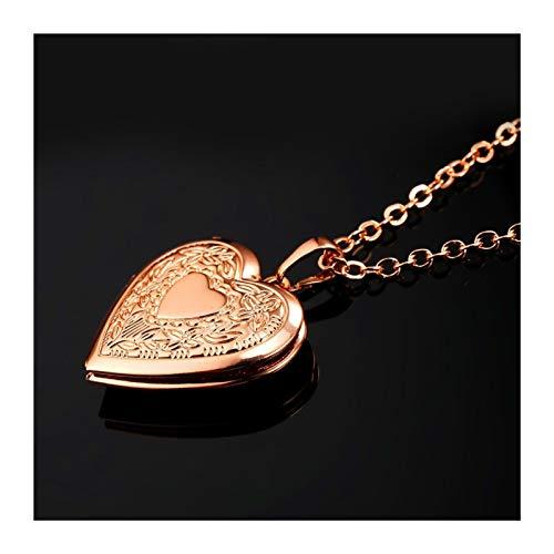 DERFX Love Heart Medallet Collar Que sostiene imágenes Pulechadas Lockets Collares Regalos de cumpleaños para niñas Boys Accesorios (Color : 2)