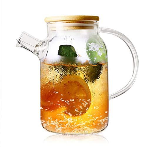 Brocca d'acqua in vetro con coperchio in bambù, brocca d'acqua con beccuccio lungo e filtro per succo di tè freddo/caldo, resistente al calore, adatta al frigorifero e alla stufa (1500 ml)