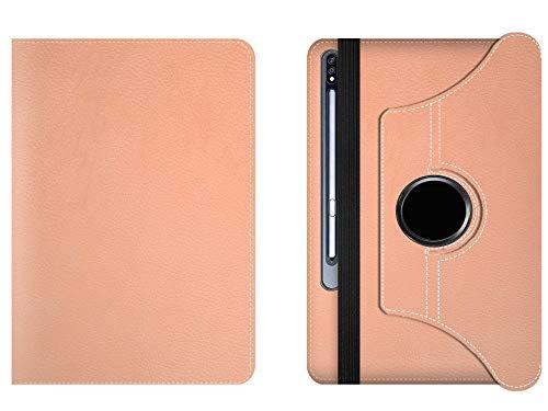 GSD 2004 Funda para Samsung Galaxy Tab S7 Plus de 12,5' 2020 (SM-T970/T975) Funda de piel ultrafina con soporte giratorio de 360 grados, compatible con Galaxy Tab S7+ (oro rosa)