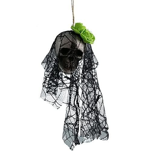 GKYI Adornos colgantes de Halloween de espuma de cráneo-percha ropa de novia hueso cabeza escena diseño accesorios para el hogar Festival decoraciones de fiesta