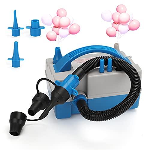 GUJIN Elektrische Vakuum Luftpumpe mit 8 Düsengrößen Kompressor, 600W tragbare Doppeldüse, für Luftmatratzen, Schlauchboote, Kinderpool Planschbecken, Aufblasbare Schwimmtiere Oder Camping