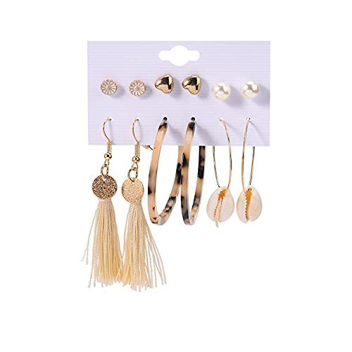 1 pieza de pendientes de oreja para mujer, diseño de flor, perla y corazón, borla de concha, aretes de leopardo