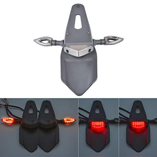 KaTur Fender, fanale posteriore a LED rosso con indicatore di direzione lampeggiante per moto fuoristrada, motocicletta, moto da cross (lente rossa)