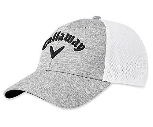 Callaway Golf Mesh Fitted Hat, Light Grey/White/Black, Large/X-Large