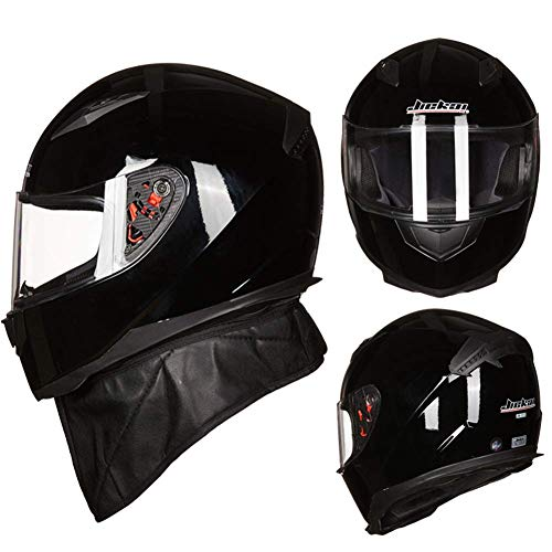 Adult Front Flip Motorhelm, Full Face Crash Helm, Racing Road Cycling Helm met Transparant Zonneklep en Masker, Zwart