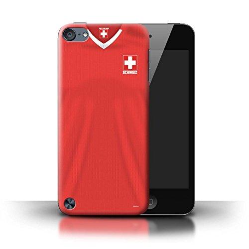 Stuff4 Custodia/Cover/Caso/Cassa Rigide/Prottetiva Stampata con Il Disegno Coppa Mondo 2018 Maglietta Calcio per Apple iPod Touch 5 - Svizzera/Svizzero