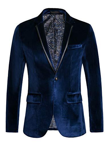 chouyatou Men's Lightweight Half Lined Two-Button Suit Blazer (X-Large, Navy)