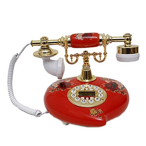 Teléfono Fijo Antiguo Cerámica Pastoral Antiguo Teléfono Retro Línea fija fija con identificador de llamadas de manos libres Adecuado Para La Decoración Del Hogar ( Color : Red , Size : 25.5x19x18cm )