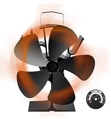 ストーブファン Snople 火力ファン 5つブレード エコファン 火力熱炉ファン ミニラウンド型 静音 省エネ ストーブファンヒーター 薪ストーブ/暖炉用品 スチール製 ストーブ 熱供給用品 暖房用 温度計付き