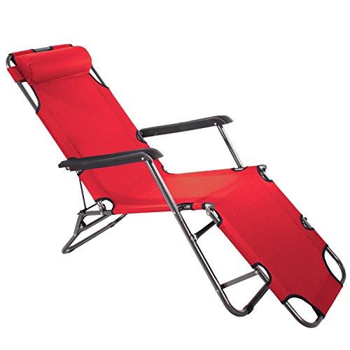 Smartfox Sonnenliege Gartenliege Strandliege 3 Sitz-/Liegepositionen ca. 180 cm Rot