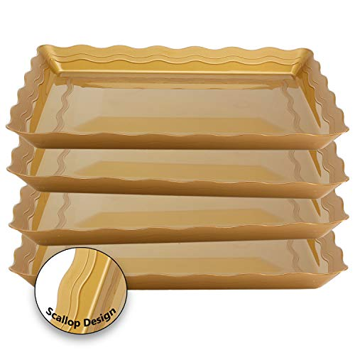 4 Pack Rectangular Plastic Trays, Heavyweight Disposable Serving Party Platters, (Gold)