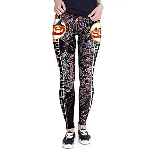 HUBINGRONG New Design Dames leggings 3D Printed Halloween pompoen spinnenwebben Ray fluorescentie legging broek panty legging yoga leggings (Color : Multi-colored, Size : L)