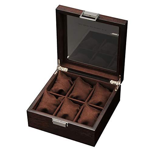 Caja de Reloj de 6 Ranuras, Soporte de Caja de Reloj con Tapa de Vidrio, Almohada de Reloj extraíble, Forro de Terciopelo, Cierre de Metal