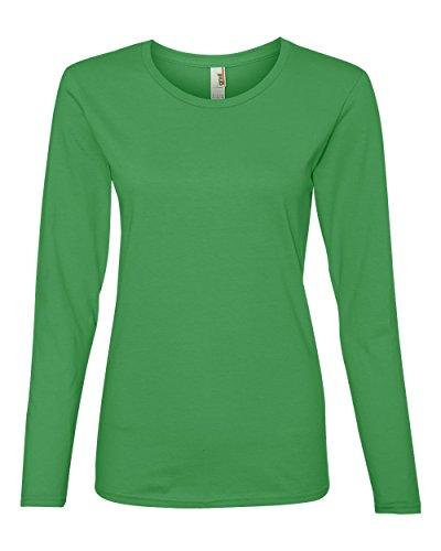 Anvil Ladies' Lightweight Long-Sleeve T-Shirt, Green Apple, Medium
