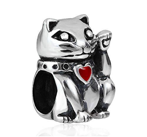 EvesCity - Abalorio de plata de ley 925 con diseño de gato de la suerte para pulseras y collares