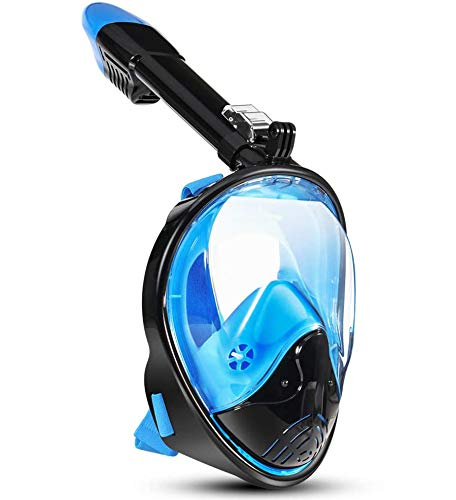 Snorkel Mask 180 Degree Vision, Full Face Diving Mask Free Breathing Design Anti-Fog and Anti-Leak Technology with Sport Camera Mount for Adults(Blue-Black L/XL)
