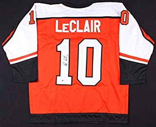 John Leclair Autographed Signed Flyers Jersey Beckett Coa Playing Career 1991 2006