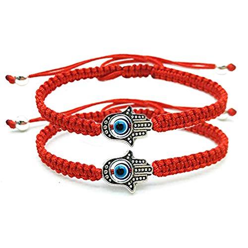 Unisex Handmade Braided Rope Lucky Red String Bracelet Hamsa Evil Eye Charm Bracelet for Women Peaceful Adjustable Couple Bracelets