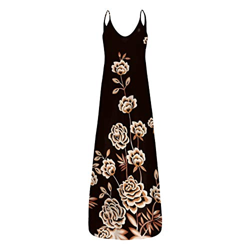 riou Vestido Mujer Bohemio Largo Verano Playa Fiesta Casual Vestido de Cóctel de Noche/Color Sólido Falda Larga