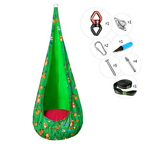 Greensteel Kids Pod-Schaukelsitz mit Beschlagsätzen und Drehwirbel, reibungslose 360 ° -Drehung, Kinder-Hängesessel-Karikatur-Druckmuster, für Innen und Außen (Grün)