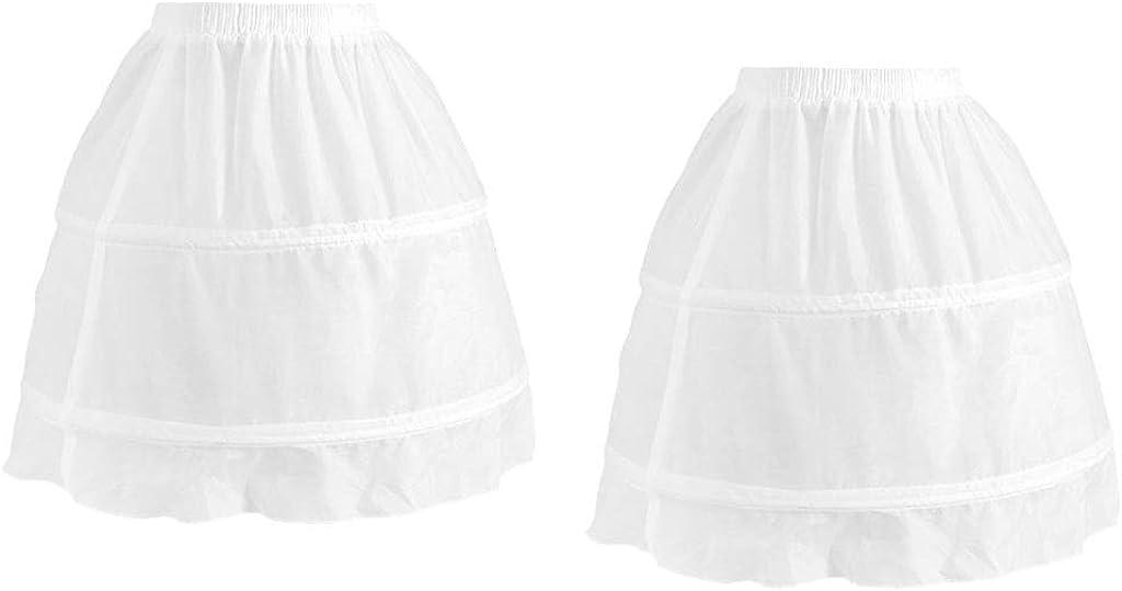 Fityle 2pack Kids Girls 2 Hoop Puffy Tulle Dress Petticoat Elastic Chiffon Underskirt
