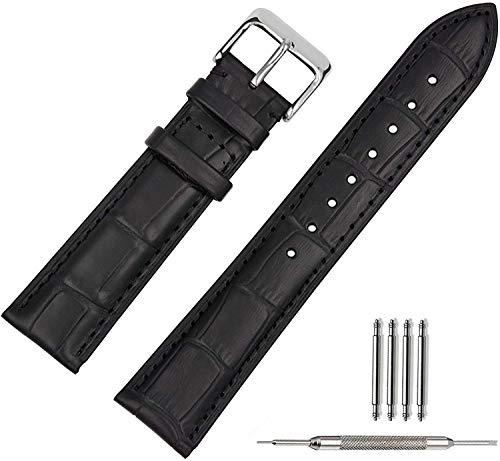 KATLY Leder Uhrenarmband,Echt Uhrband Armband Uhrenarmbänder Watch Band Ersatzarmband für Uhren Schwarz Braun (18/19/ 20/21/22mm),Black,19mm