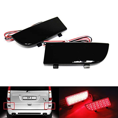 2 x schwarze Rauchglas-Reflektoren für die hintere Stoßstange, Bremslicht für 2003–14 MB Viano Vito W639