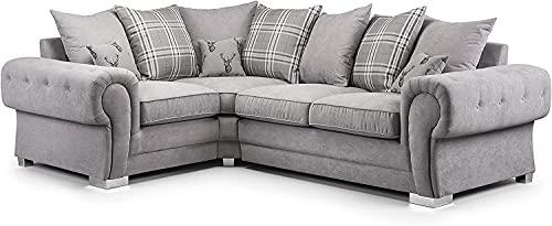 Luxury Corner Sofa-Verona Small 2C1-Grey & Beige Fabric Sofa Settee - 4 Seater - Corner Sofa for Living Room - Couch for Sale-UK (Beige, Right Hand Corner Sofa)