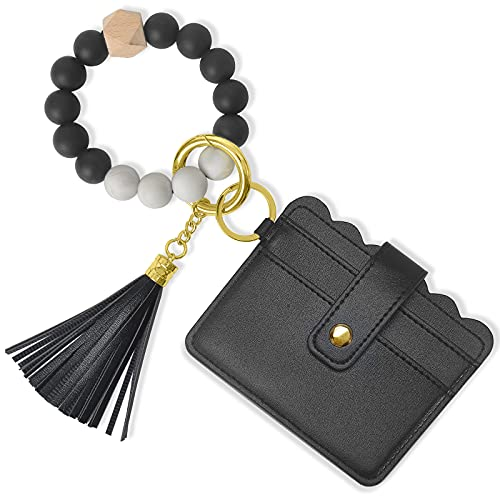 Wristlet Keychain Bracelet Wallet, YUOROS Silicone Bead Key Ring Chain Bangle with Card Pocket for Women (Black)