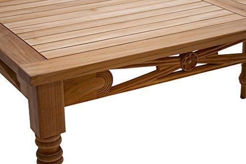 Ploß Ploß Ornamenttisch Cambridge 150 x 90 cm - Premium Teakholztisch mit FSC-Zertifikat - Terrassentisch aus für 4-6 Personen geeignet - Holz-Gartentisch Braun mit geschlossener Tischplatte