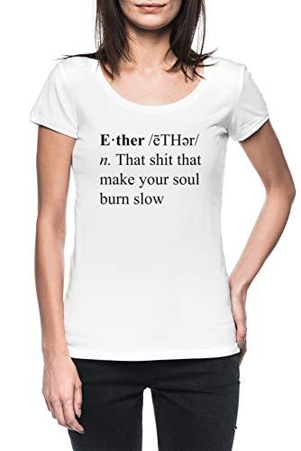 Ether Definition Damen Weiß T-Shirt Kurzarm Women's White T-Shirt